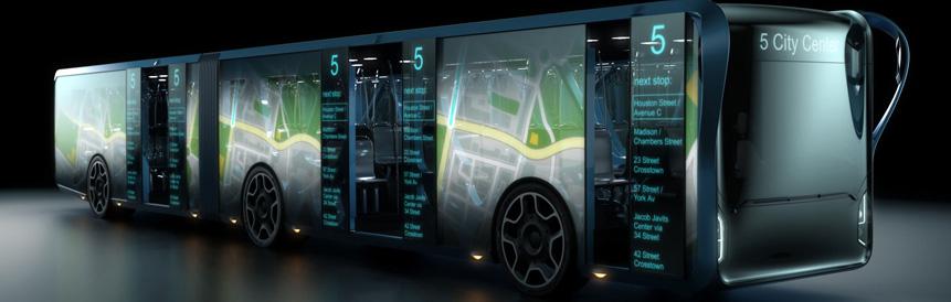 Designer cria conceito de ônibus com telas signage